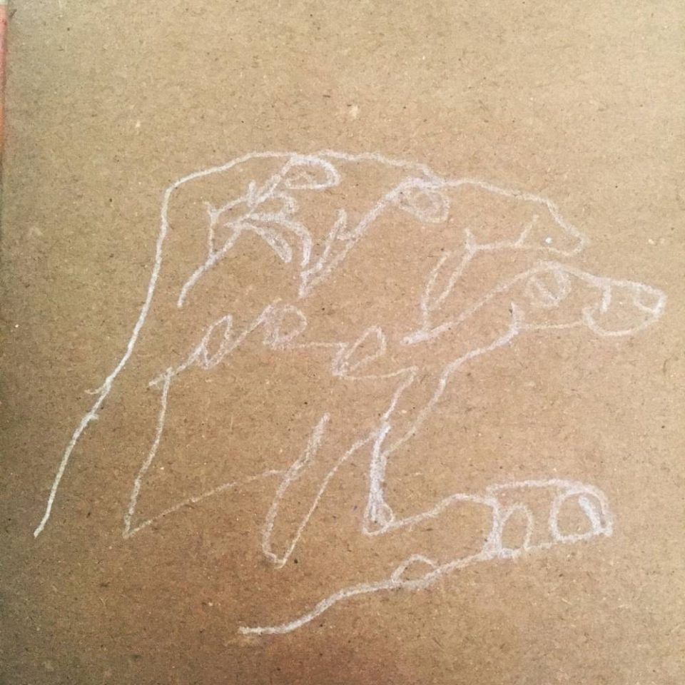 blind contour drawing hand brown paper