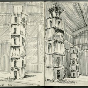 Drawing in Hangar bicocca Anselm Kiefer The Seven Heavenly Palaces